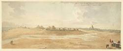 Panorama of the Great Temple of Jagannath, Puri (Orissa), taken from the west, showing European bungalows in the foreground on the sea shore. September 1820